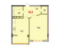 1 комнатная квартира 46.6 кв.м