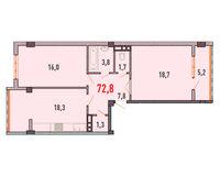 2 комнатная квартира 72.8 кв.м